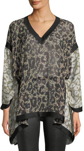 Roberto Cavalli Long-Sleeve V-Neck Retro Leopard-Print Caftan Blouse w/ Self Belt