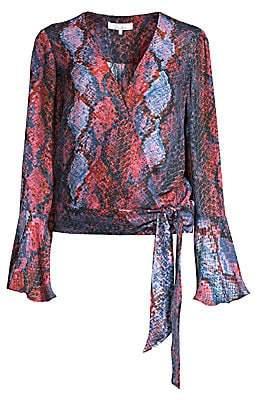 Parker Women's Isabella Snake-Print Silk-Blend Wrap Blouse