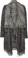 Vince Leather-trimmed fringed wool-blend cardigan