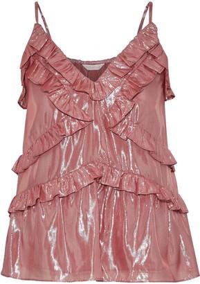 Rebecca Taylor Ruffled Silk And Lurex-blend Camisole