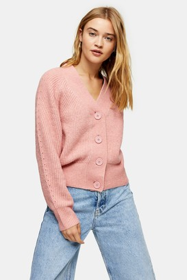 Topshop Pink Pointelle Knitted Cardigan