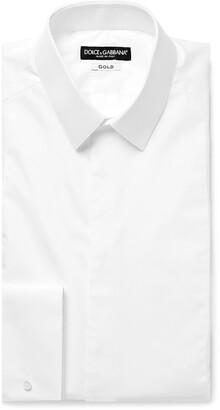 Dolce & Gabbana White Slim-Fit Bib-Front Double-Cuff Cotton-Poplin Tuxedo Shirt - Men