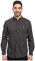 U.S. Polo Assn. Long Sleeve Solid Cotton Poplin Heathered Sport Shirt