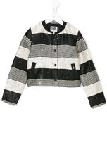Karl Lagerfeld striped sequined jacket - kids - Cotton/Polyester/Viscose/polyester - 6 yrs