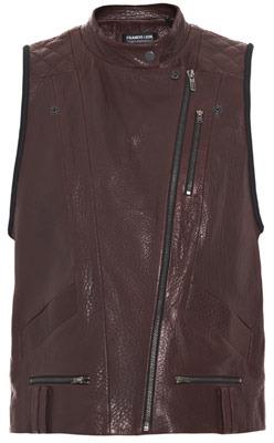 Leon Francis Leather-neoprene gilet