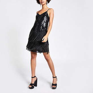 River Island Black fringe embellished mini dress