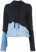 Greg Lauren denim detail hoodie - women - Cotton - 2