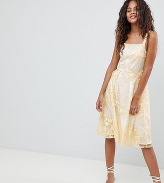 Dolly & Delicious Tall Allover Embroidered Floral Lace Midi Prom Dress-Multi
