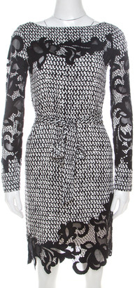Diane von Furstenberg Monochrome Geometric Print Silk Floral Lace Applique Ernestina Dress XS