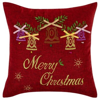 Violet Linen Seasonal Bells Christmas Throw Pillow