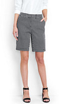 """Lands' End Women's Tall Mid Rise 10"""" Chino Shorts-Black Squares"""