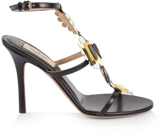 Valentino Flower Leather Ankle-Strap Sandals