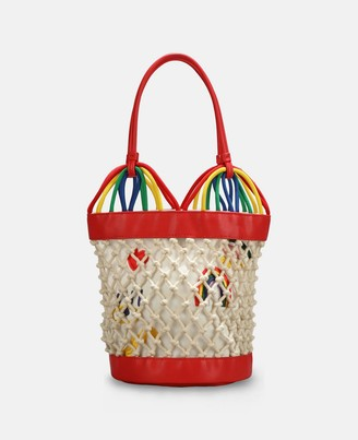Stella McCartney hearts embroidery bucket bag