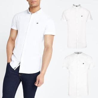 River Island Mens White slim short sleeve Oxford shirt 2 pack