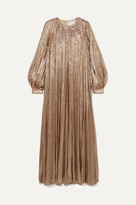 Oscar de la Renta Pleated Embellished Silk-blend Lame Gown - Gold