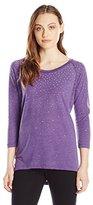 Seven7 Women's Embellished Long Sleeve Burnout Top