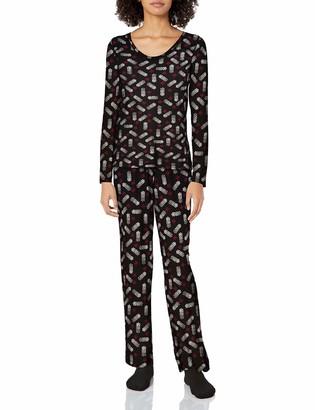 Hue Women's Mini Character Printed Rayon Tee and Pant 3 Piece Pajama Set