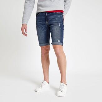River Island Mens Mid Blue Sid skinny stretch ripped shorts