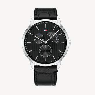 Tommy Hilfiger Dress Watch with Black Croc Leather Strap