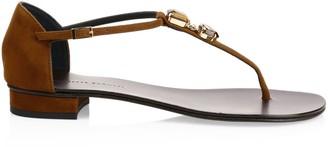 Giuseppe Zanotti Swarovski Crystal & Suede Toe-Thong Sandals