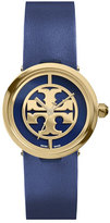 Tory Burch 28mm Reva Leather-Strap Watch, Navy/Golden