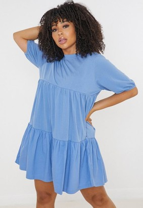 Missguided Plus Size Blue Tiered T Shirt Smock Dress