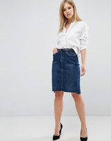 Blank NYC Denim Skirt With Step Hem