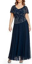 J Kara Plus Short-Sleeve Floral-Beaded Gown