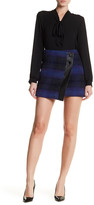 Karen Millen Blurred Mohair Check Wool Blend Skirt