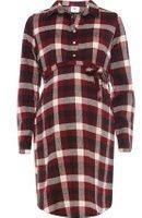 Dorothy Perkins Wo**mamalicious Maternity Burgundy Long Sleeve Shirt Dress- Burgundy