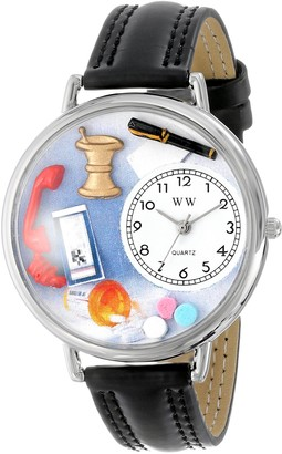 Whimsical Watches Pharmacist Black Padded Leather and Silvertone Unisex Quartz Watch with White Dial Analogue Display and Multicolour Leather Strap U-0620014