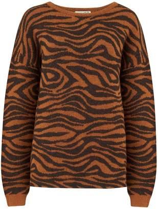 Sugarhill Boutique Livvy Big Cat Tiger Sweater - 14   brown   Tiger Print - Brown/Brown