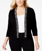Calvin Klein Plus Size Bead-Trim Knit Shrug