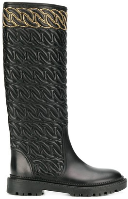 Casadei Embossed Knee High Boots