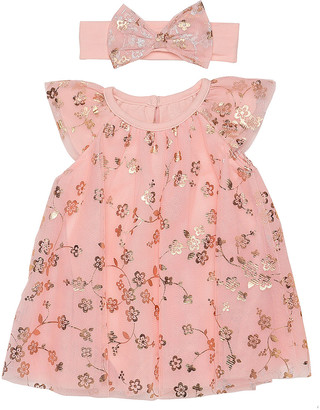 Baby Starters Girls' Casual Dresses Pink - Pink Floral Angel-Sleeve Dress & Headband - Infant