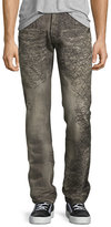 PRPS Demon Scribbled-Detail Relaxed-Slim Jeans, Gray