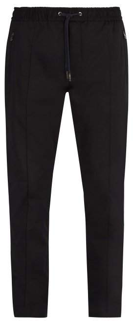 Dolce & Gabbana Cotton Blend Track Style Trousers - Mens - Navy