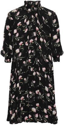 By Ti Mo Shirred Floral-print Fil Coupe Woven Mini Dress