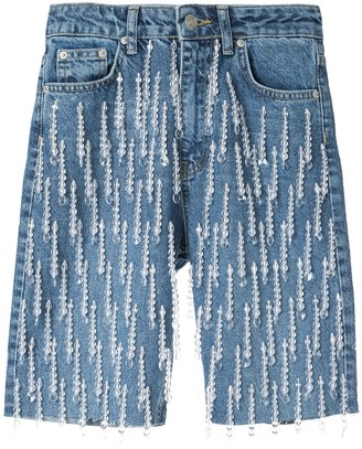 Dalood All-Over Pearl Embroidered Denim Shorts