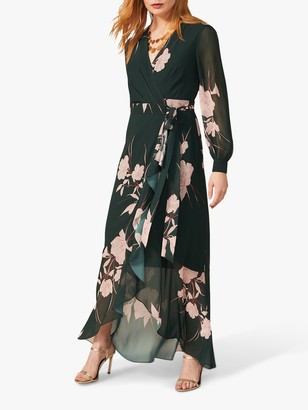 Phase Eight Kazumi Floral Ruffle Asymmetric Hem Maxi Wrap Dress, Forest/Multi