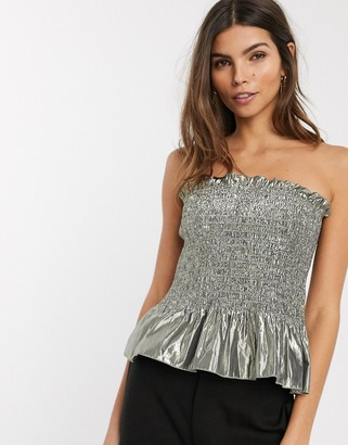 And other stories & metallic shirred bandeau top in silver