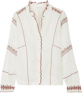 Etoile Isabel Marant Delphine Embroidered Linen Top - Ecru