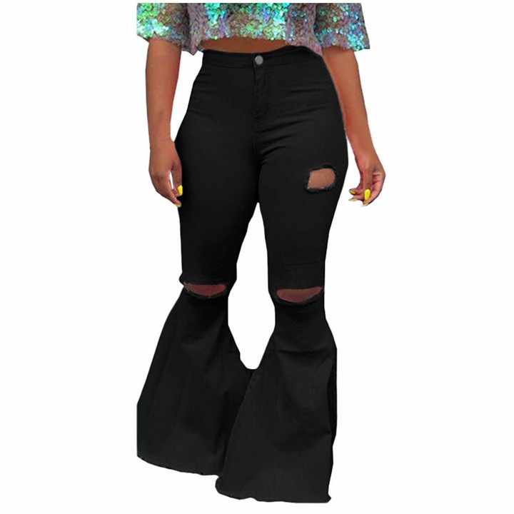 Womens Ladies Ripped High Waist Jeans Skinny Stretch Pants Jeggings Size 8-18 UK