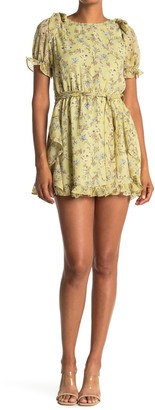 FAVLUX Puff Sleeve Floral Mini Dress