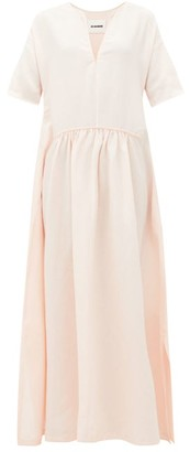 Jil Sander Gathered-waist Slubbed-voile Maxi Dress - Womens - Light Pink