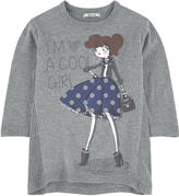 Mayoral Graphic sweatshirt dress with rhinestones