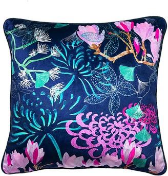 Amanda West Emerald Midnight Florals Velvet Cushion
