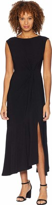 Gabby Skye Women's Cap Sleeve Round Neck ITY A-line Dress