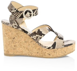 Jimmy Choo Aleili Snakeskin-Embossed Leather Cork Wedges