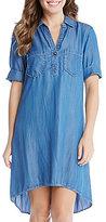 Karen Kane Point Collar Rolled Cuff Shirt Dress